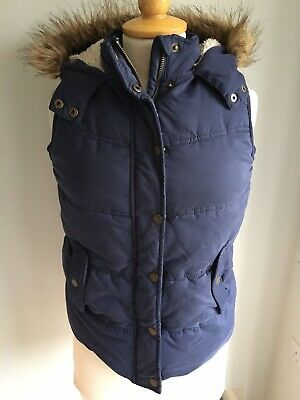 Fat Face Girls Blue Hooded Gilet Age 12-13 Years. Great Condition.