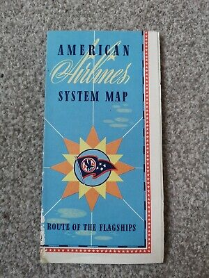 Vintage AMERICAN AIRLINES MAP- Route Of the Flagships Circa 1950s