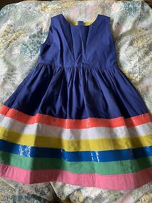Mini Boden Blue Rainbow Sequin Party Dress Age 7-8 Years
