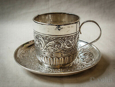 Rare Victorian Coffee Silver Cup and Saucer 1894 William Hutton & Sons London