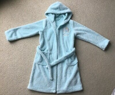 M&S Girls Elsa Frozen Aqua Hooded Dressing Gown Sparkle Age 6-7 Yrs Hardly Used