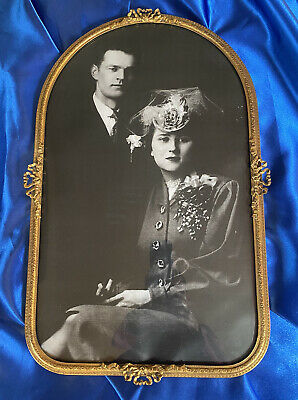 """Antique Brass Picture Frame With Convex Glass 10""""x16"""""""