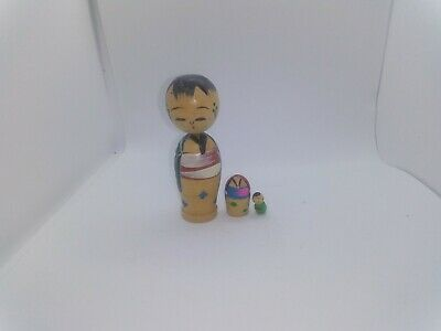 KOKESHI Japanese Doll vintage antique 3 in 1 wooden used 3  inch