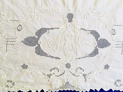 Vintage Madeira Hand Embroidered Monogrammed Top Sheet Twin XL Finest Quality