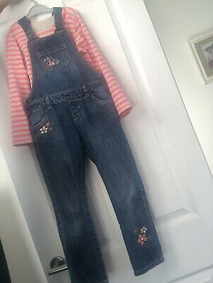 Girls Age 5 - 6 Denium Dungerees Outfit, Woodland With Stripey Top