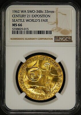 1962 NGC MS-66 Century 21 Seattle Worlds Fair Official US Mint Medal