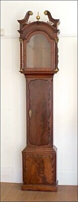 "Superb Mahogany Longcase Grandfather Clock Case for 12"" Arched Dial."