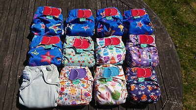 11 Tots Bots teenyfit & 1 Real Easy XS reusable cloth nappies PRELOVED USED