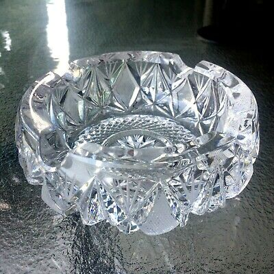 Genuine Antique 1960 Hand Cut Lead Crystal Round Candle Holder/Ashtray