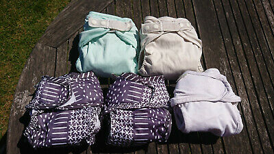 5 Little Lamb size 1 reusable cloth nappies plus wraps PRELOVED USED