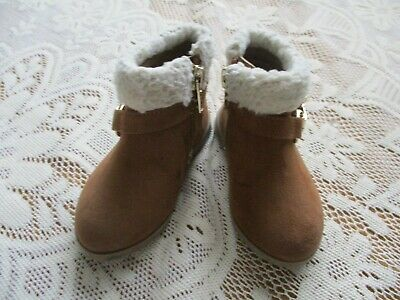 River Island Baby Girls Faux Suede Look Ankle Boots Side Zip Brown Size 3