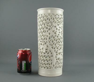 """Vintage Chinese Blanc de Chine Reticulated Sleeve Vase Blossom Tree 10"""""""