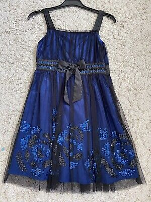 Girls Signature Next Blue Sequin Dress Age 10 Years