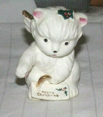 Vintage 1960's,Cat,Angel,Merry Christmas,Figurine,Made In Japan,Very Good Cond.!