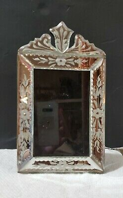 """VINTAGE VENETIAN MIRRORED PICTURE FRAME WOOD EASEL BACK 9-1/4x5-1/2 - 4x6"""" image"""