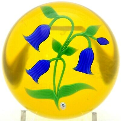 LARGE Amazing BACCARAT Crystal France BLUE BELL FLOWERS Art Glass PAPERWEIGHT