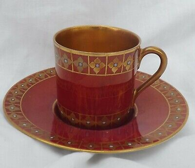 Vintage Fraureuth German Red Gilt Moriage Demitasse Tea Coffee Cup & Saucer Set