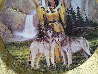 hamilton collection woman with wolf wolves faithful guardians  david wright