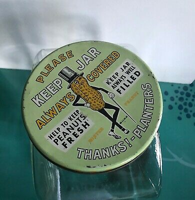 1940 Vintage Original Planters Peanuts Jar Tin Lid Leap Year on Bottom