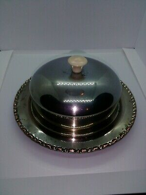 Vintage Round metal butter dish with glass inner dish. See photos.