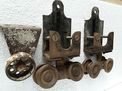 2 Vintage BARN DOOR ROLLERS sliding double wheels with extra roller