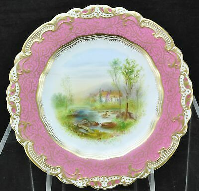 "Antique George Jones Pink & Gold HP ""Lyndale Devon"" Landscape Cabinet Plate 1900"