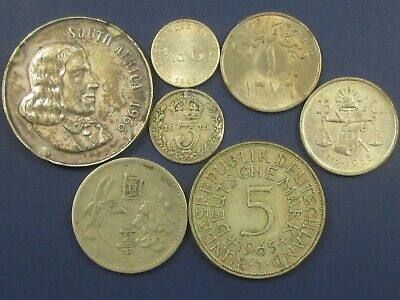 Lot of 7 Old Foreign Silver/Cupronickel Coins 1915-1966 - South Africa, Taiwan +