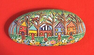 Hand Painted River Rock Art - Houses