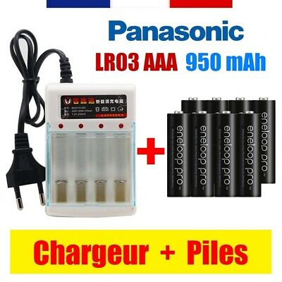 LR03 / AAA - PILE BATTERIE RECHARGEABLE PANASONIC 1,2V 3800 mAh + CHARGEUR