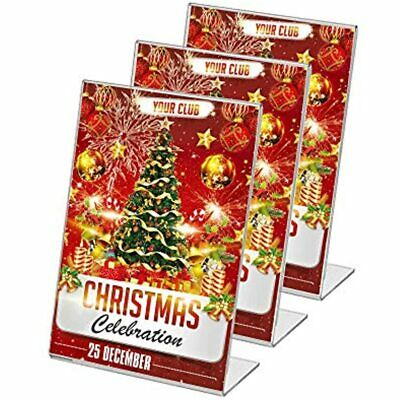 Display4top 3 Pack, 8.5 X 11 Inches Displays Clear Acrylic Slanted Sign Holders