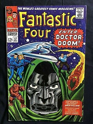 "Fantastic Four #57 (1966) LEE/KIRBY CLASSIC! ""ENTER DR. DOOM!"" SILVER SURFER!"