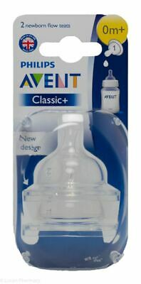 AVENT Anti-Colic Teats Silicone 0M+ Newborn Flow 2 Pieces *NEW PACKAGING*