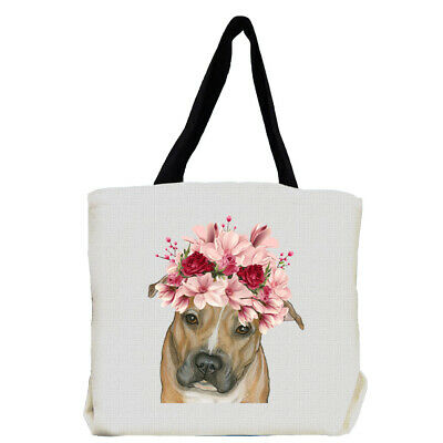 Pit Bull Dog with Flowers Tote Bag