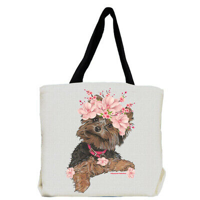 Yorkshire Terrier Yorkie Dog with Flowers Tote Bag