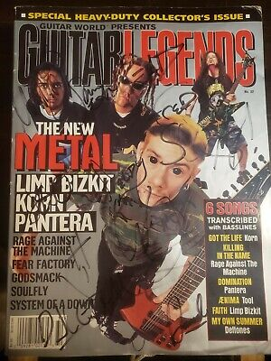 GUITAR LEGENDS July '97 Issue signed by Korn and Limp Bizkit.
