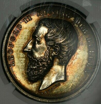 1878 NGC MS62 BELGIUM SILVER MEDAL AGRICULTURE ST. AMANDSBERG LEMAIRE 41mm TONED