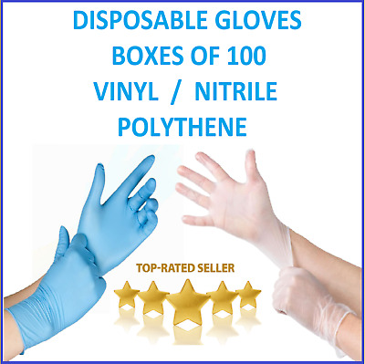 100 Disposable Gloves Box Natural Nitrile Latex Free Medical Food Safe PPE