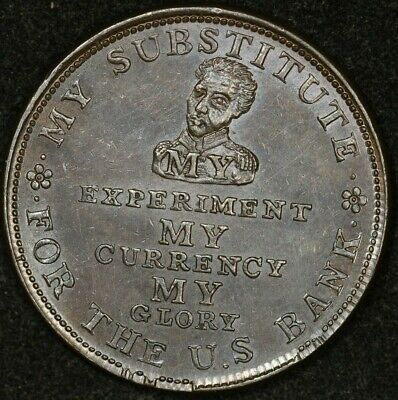1834 Perish Credit/Commerce Down With The Bank Hard Times Token Third Heat