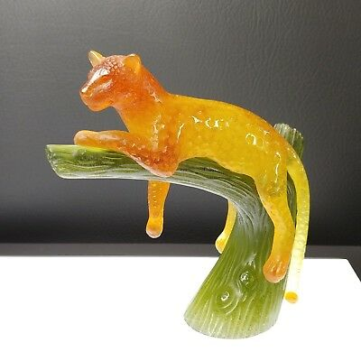 PANTHER on TREE Daum France AMBER GREEN 05027-2 Documents - Signed - in Box