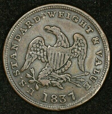 1837 Standard Weight & Value Half Cent Worth Of Pure Copper Hard Times Token