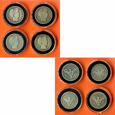 4 > Barber Half Dollar United States Silver Coins~ 1894-S, 1898, 1904-O, 1912