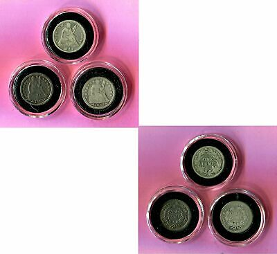 3 > SEATED LIBERTY DIMES UNITED STATES SILVER ESTATE COINS ~ 2x 1853 / 1891