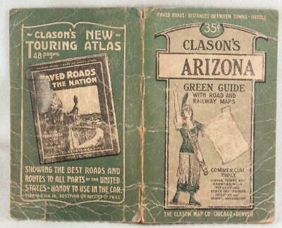 "Clason's ""Green Book"" Guide to ARIZONA with Road & Railway Maps c.1910  No Map"