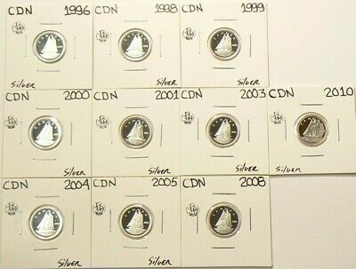 1996 to 2010 Canada 10 Cents Proof Lot of 10 Silver #6935