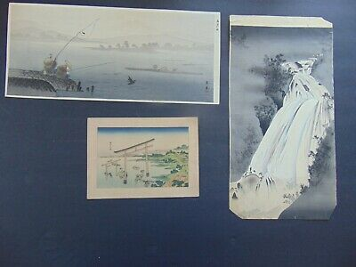 3 Antique Japanese Woodblock Prints On Hand Made Paper