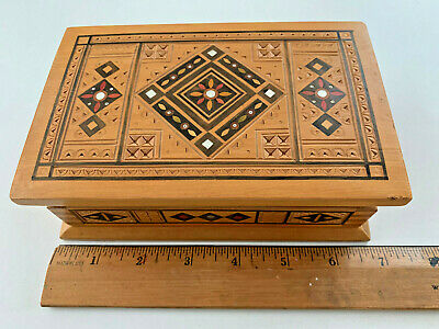 Vintage Wood Trinket Box Inlaid Hinged USSR Stamp Russian Wooden