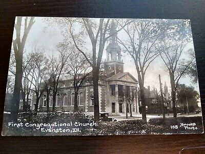 Vintage First Congregational Church Evanston IL HB Brooks RPPC Photo Postcard