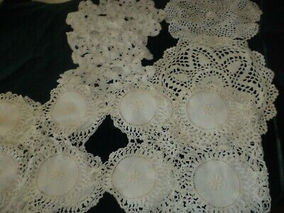Vintage Crocheted Doilys Lace Table Runner Scarf White Lot of Seven