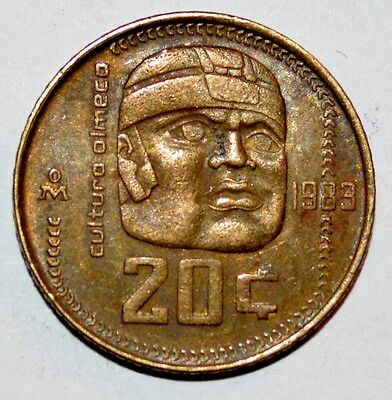 1984 20 CENTAVOS coin OLMEC CULTURE veinte snake MEXICO world