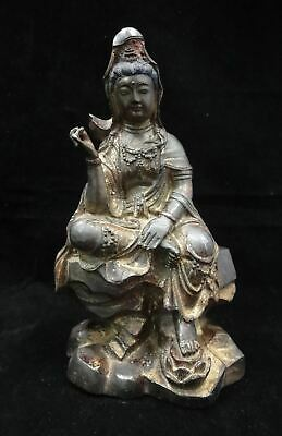 "Large Fine Old Chinese Gilt Bronze ""GuanYin"" Buddha Statue Sculpture"